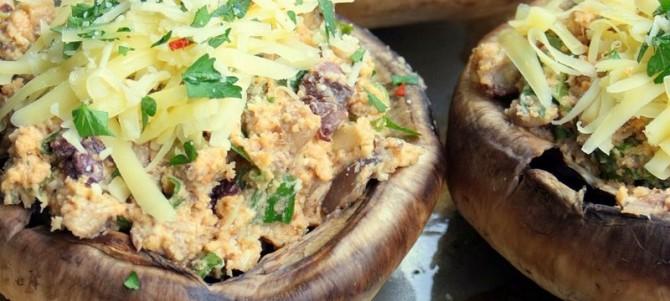 Feta + Olive Stuffed Mushrooms