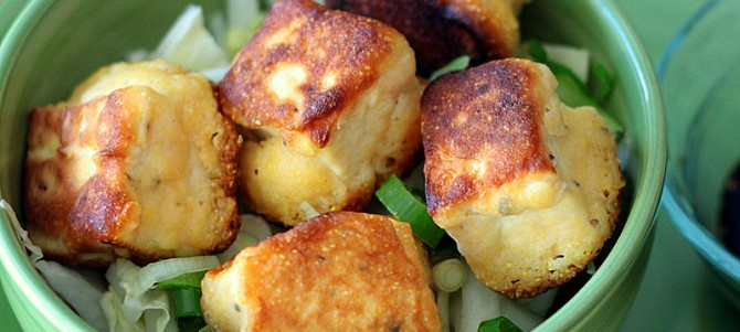 Fried Tofu Bites + How to Press Tofu