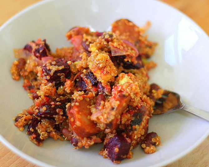 Quinoa, Beet, and Chorizo Salad